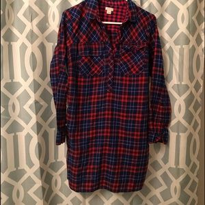 j crew plaid long sleeve dress